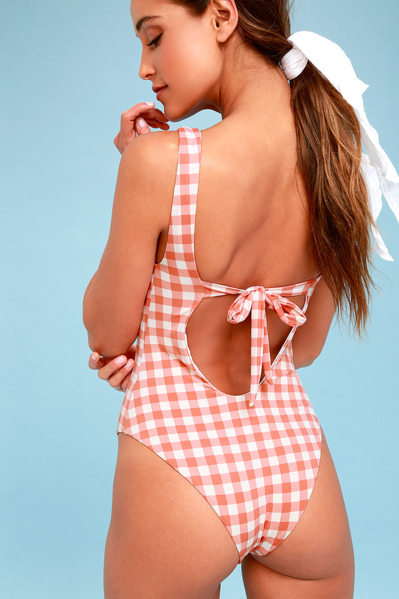 51f5ae82b5fc9 Cute Pink and White Gingham Swimsuit - One-Piece Swimsuit