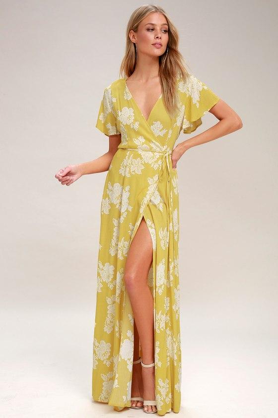 f18306ea88635 Heart of Marigold Yellow Floral Print Wrap Maxi Dress