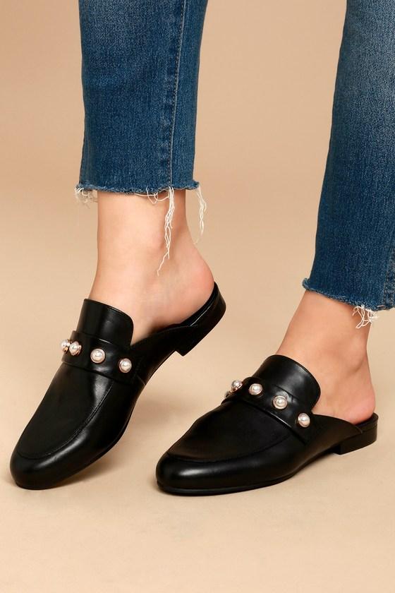 3356b516c2a80a Steve Madden Kandi-P - Black Loafer Slides - Leather Slides -  79.00