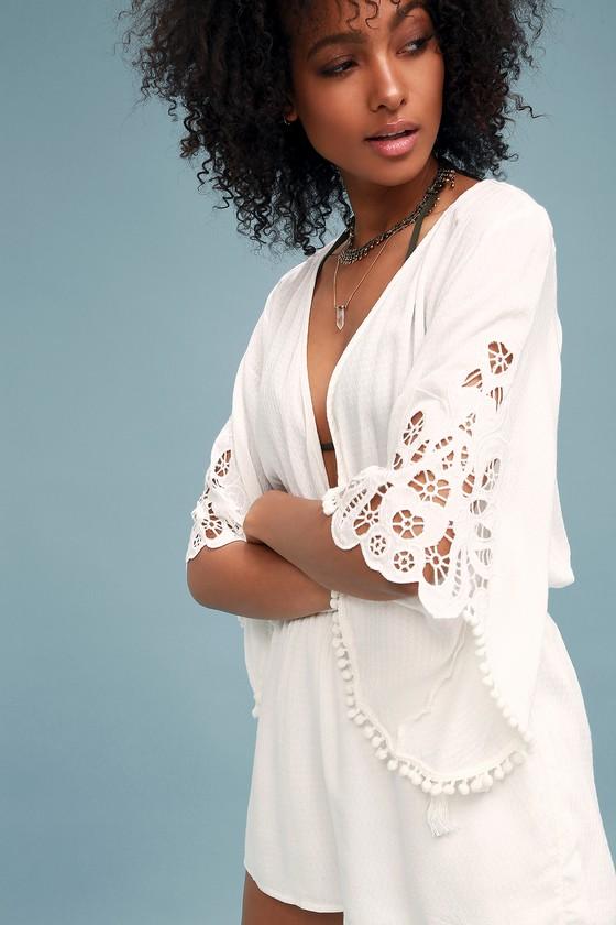 99732bc672e1 Cute White Lace Romper - Kimono Sleeve White Romper