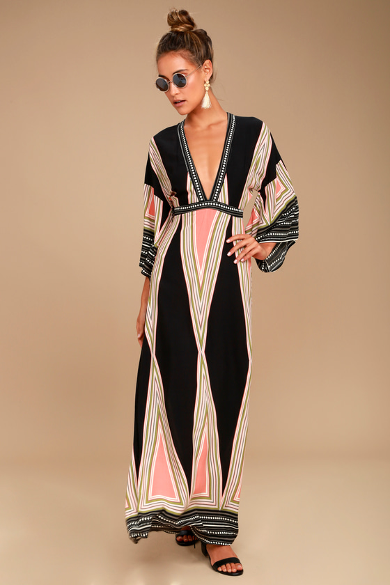 Montecito Black Print Maxi Dress - Lulus
