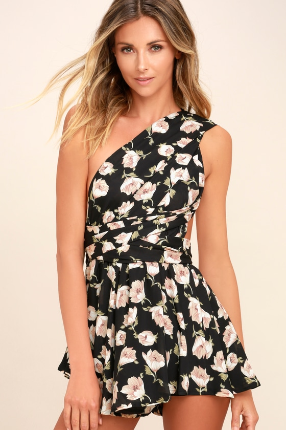 Elated Energy Pink Floral Print Convertible Romper by Lulus