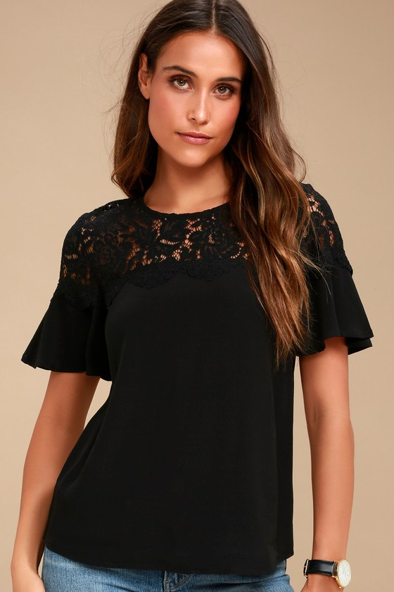 6a1dd32505a1 Cute Black Top - Black Lace Top - Short Sleeve Top