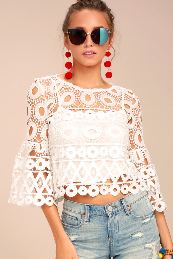 dd98228642 Lovely White Lace Top - Crochet Lace Crop Top - Long Sleeve Crop Top -   49.00