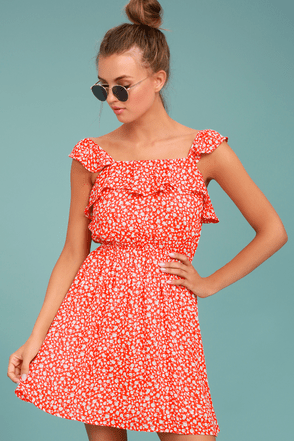 67371e1c2b Moon River Dress - Dainty Floral Print Dress - Red Sundress - Red Floral  Print Dress -  79.00