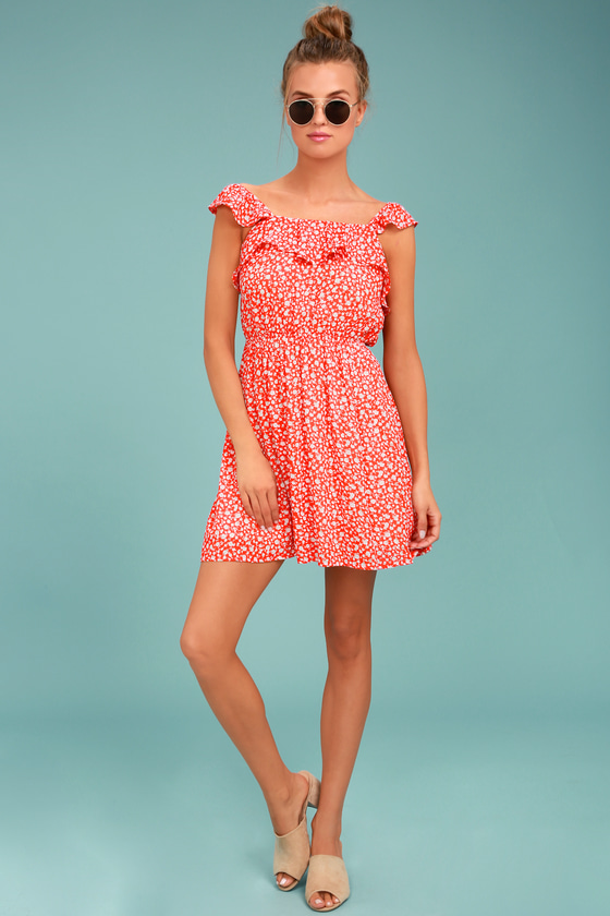 a0e8643afee Moon River Dress - Dainty Floral Print Dress - Red Sundress - Red ...
