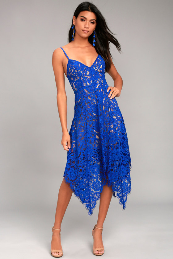 1b229ae8fa6 Royal Blue Lace Dress - Midi Dress - Handkerchief Hem Dress