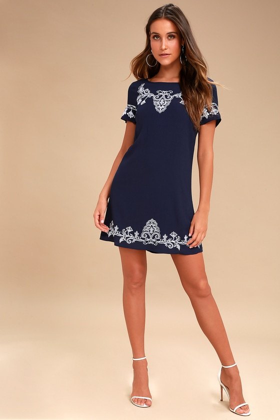 1e402d8074 White and Navy Blue Dress - Embroidered Dress - Shift Dress