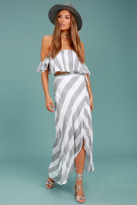 Golden Sunset Grey and White Striped Wrap Maxi Skirt - Lulus