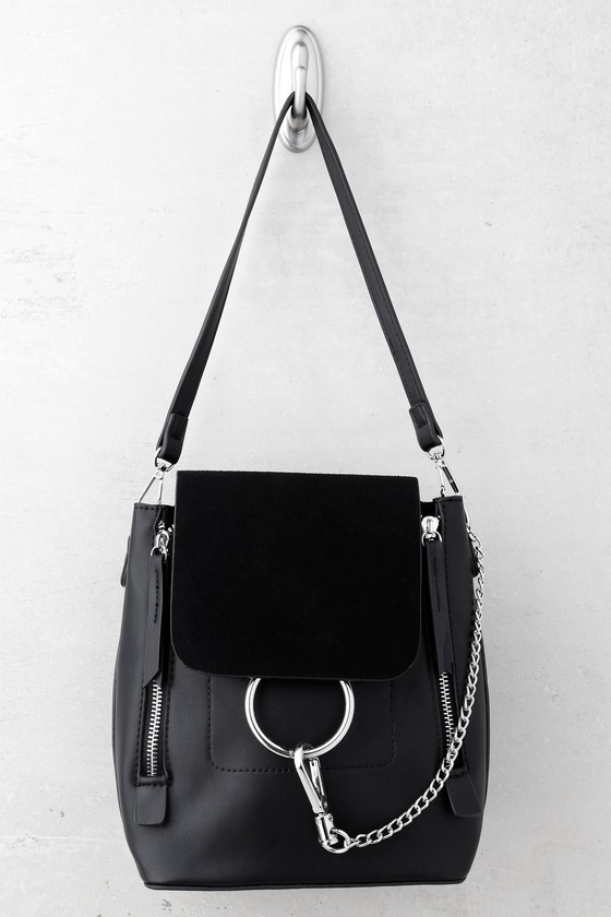 2bef4ae660a7 Cute Black Backpack - Black Tote Bag - Vegan Leather Backpack -  37.00