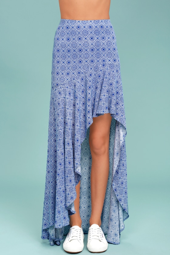 7473f0638ac Chic Blue and White Skirt - Print Skirt - High-Low Skirt - Maxi ...