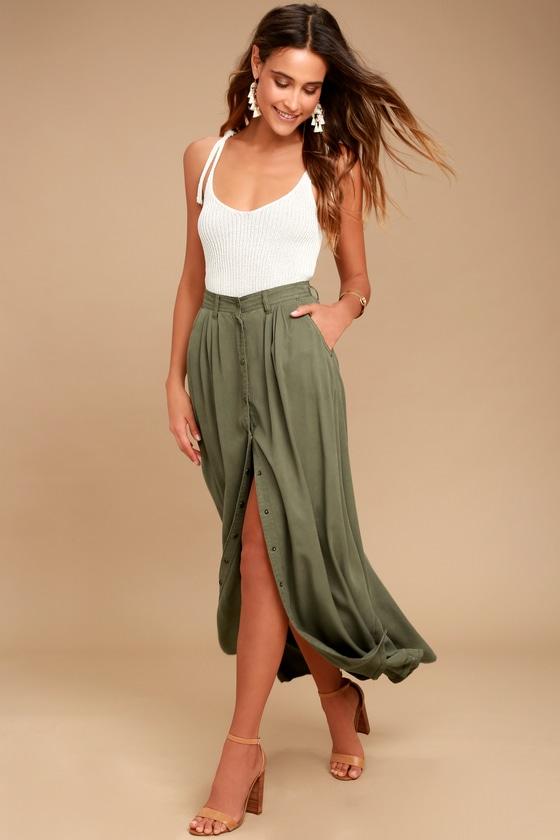 3a39f8db83e0 PISTOLA Olive Green Skirt - Maxi Skirt - Button-Up Skirt
