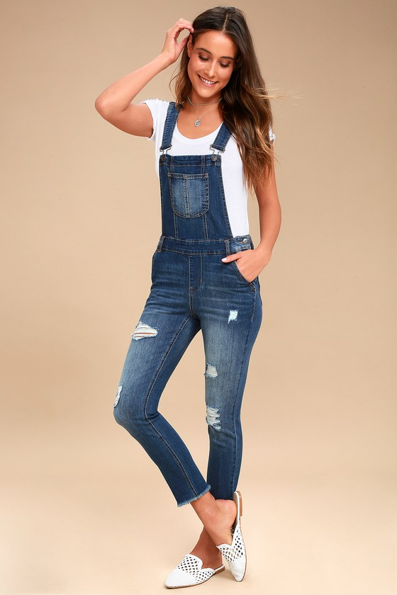 d52bfe8669ce Cute Medium Wash Overalls - Distressed Overalls