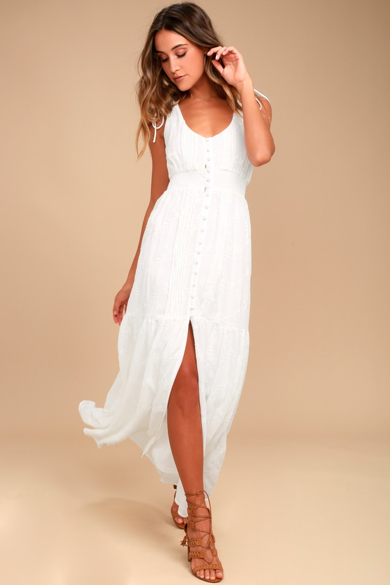 White Dress Embroidered Maxi Dress Button Down Dress