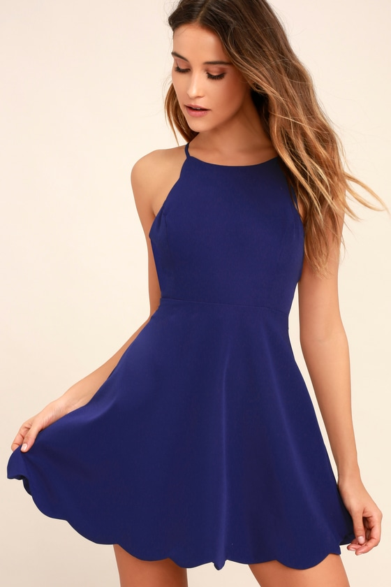 7d75c024f36 Royal Blue Backless Dress - Halter Dress - Scallop Dress