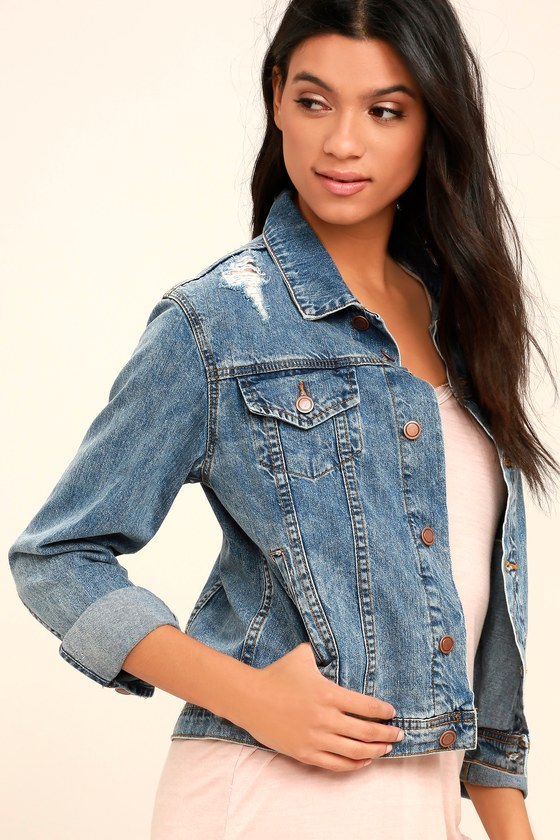 8d162ca69671 Jean Jacket - Distressed Denim Jacket - Medium Wash Jacket