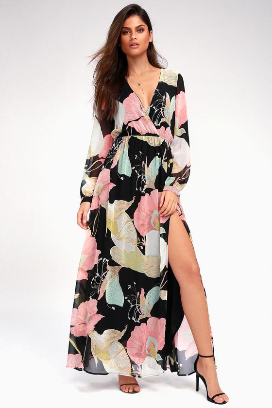 fd8b4d36a4 Wondrous Water Lilies Black Floral Print Maxi Dress - Lulus ...