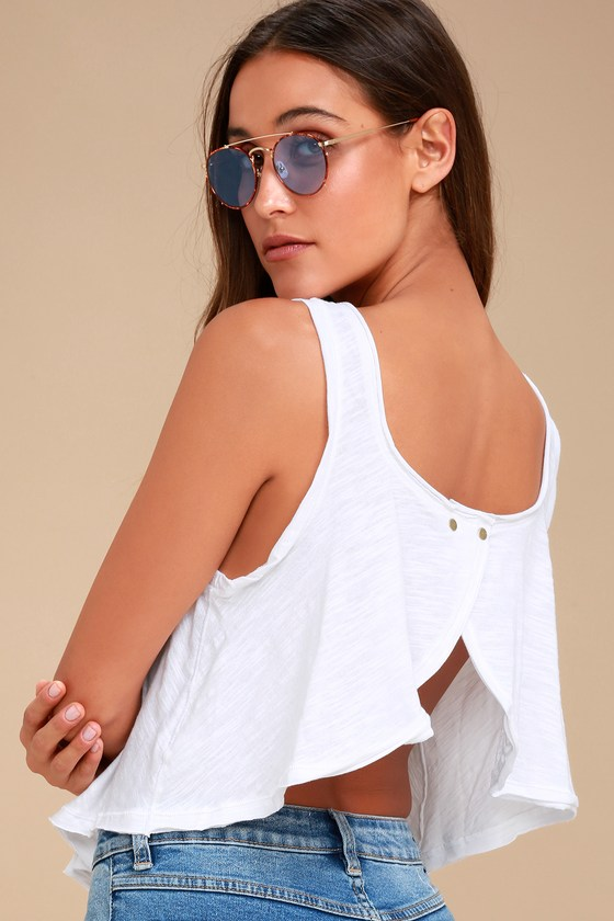 914adb8a984a4 Free People Stevie - White Tank Top - Open-Back Tank Top