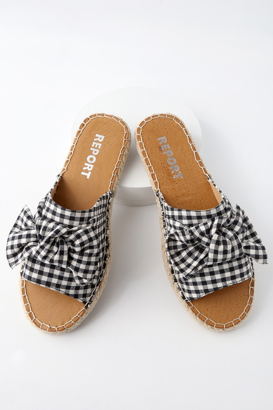 6b47127f6b7342 Report Camrin Black and White - Gingham Slide Sandals