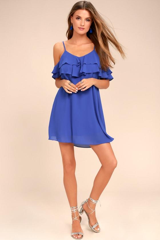 dfb9d3c992e7 Cute Royal Blue Dress - Off-the-Shoulder Dress - Shift Dress