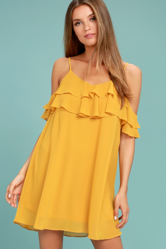 c52427f44843 Cute Yellow Dress - Off-the-Shoulder Dress - Shift Dress