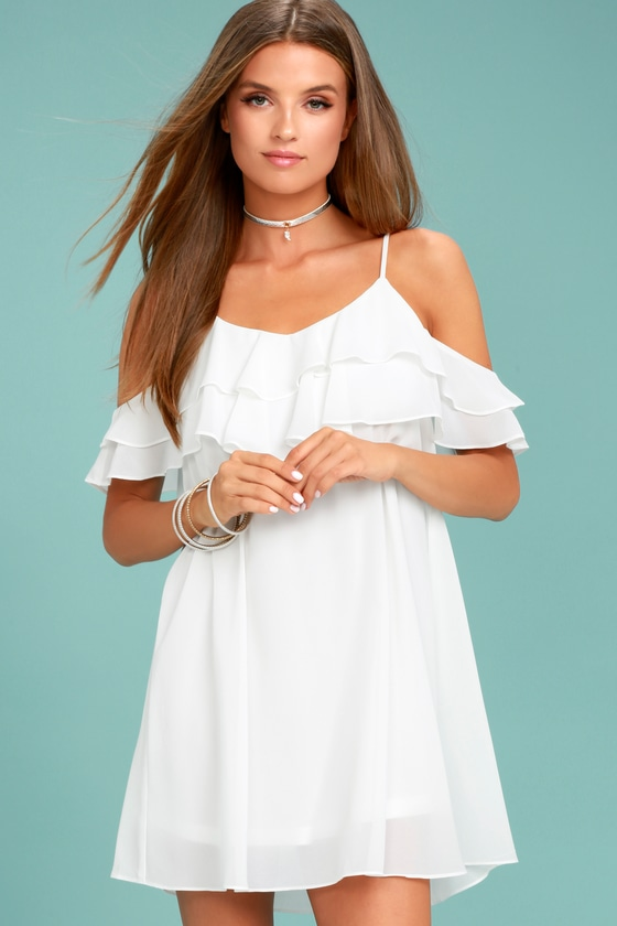 678033e2e2 Cute White Dress - Off-the-Shoulder Dress - Shift Dress