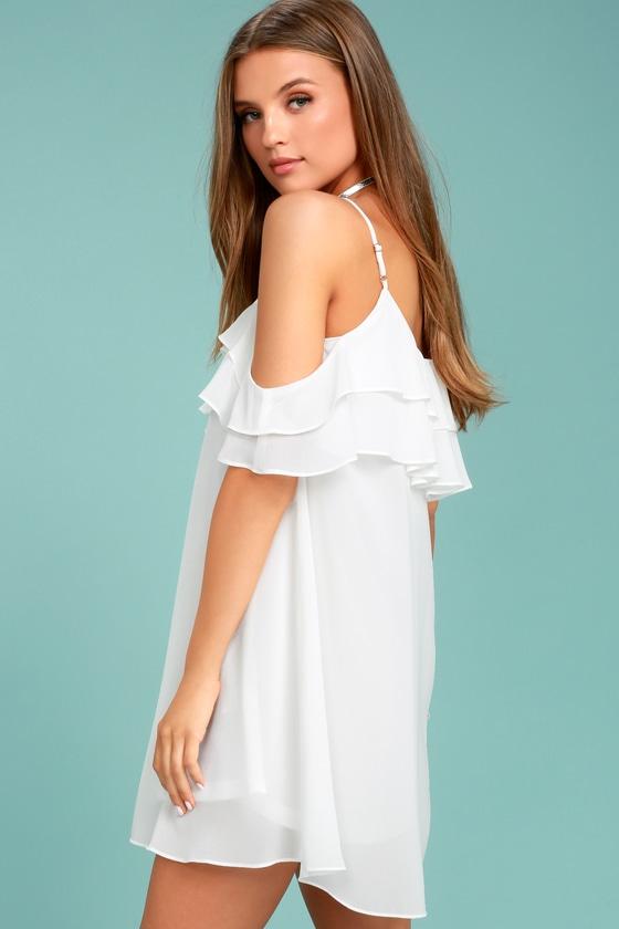 4bbd188d6911 Cute White Dress - Off-the-Shoulder Dress - Shift Dress