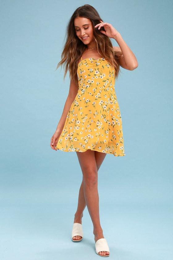 4265f0a48 Cute Yellow Dress - Floral Print Dress - Skater Dress