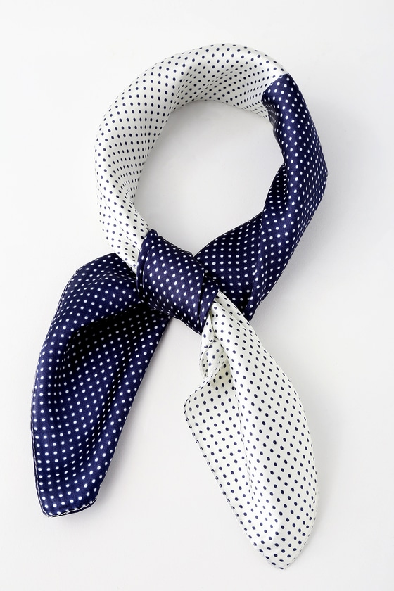 Cute Scarf Navy Blue And White Scarf Polka Dot Scarf