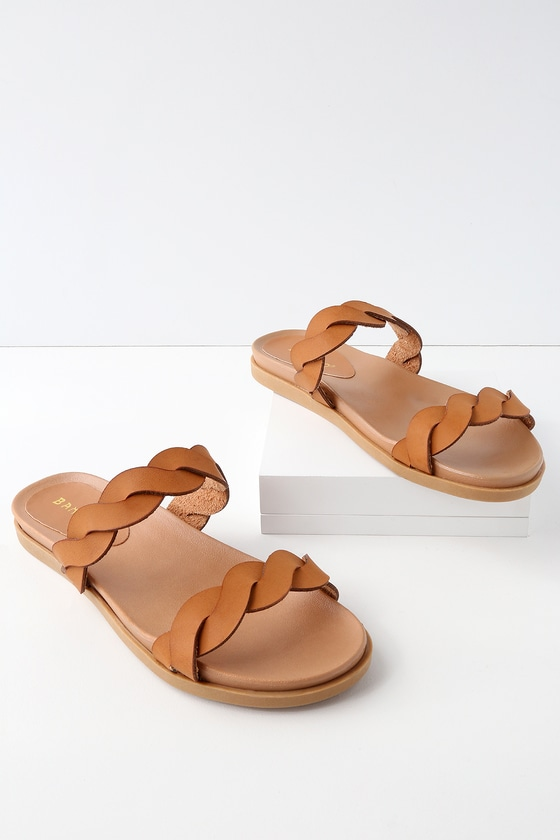 MONICA TAN SLIDE SANDALS