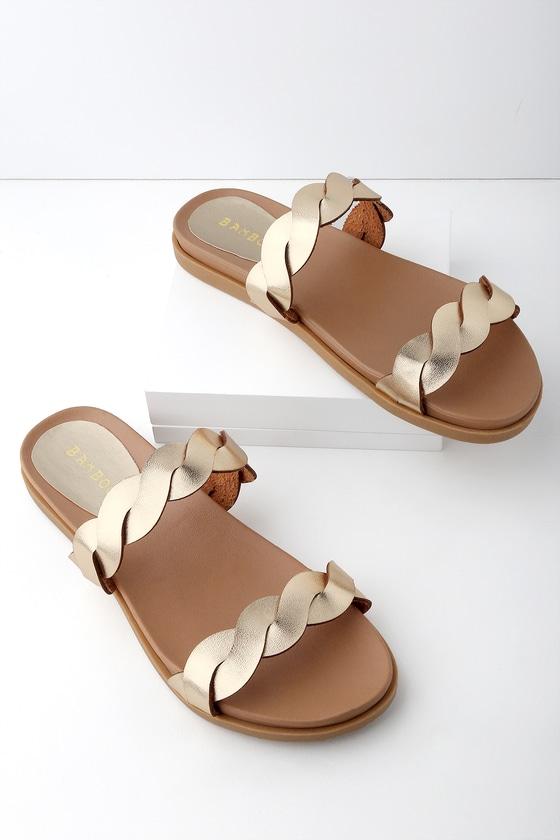 78f39fdb2 Cute Gold Sandals - Gold Slide Sandals - Flat Sandals
