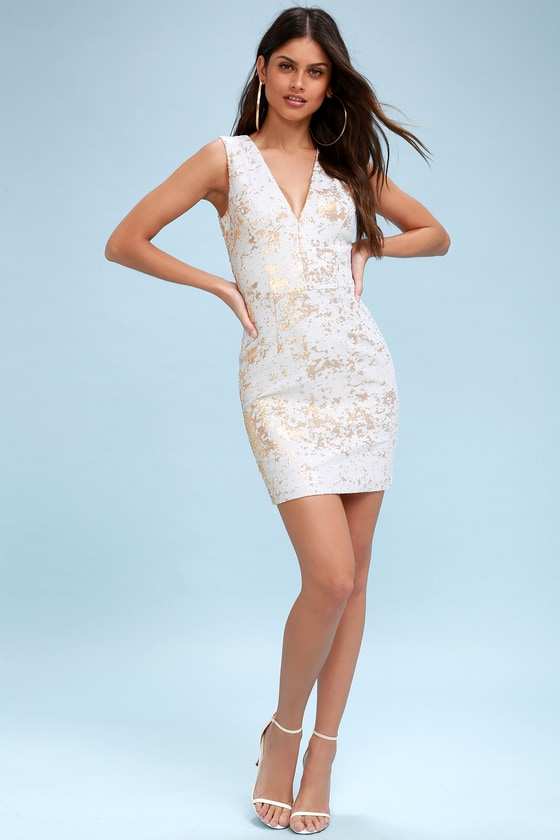 f6132ab09555 Dress the Population Cody - Gold and White Sequin Dress