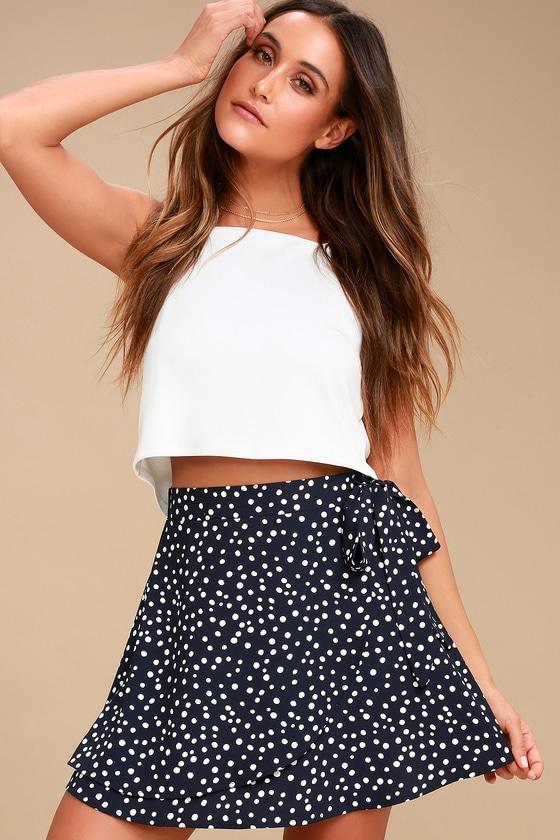 6319987752 Lincoln Navy Blue Polka Dot Wrap Mini Skirt