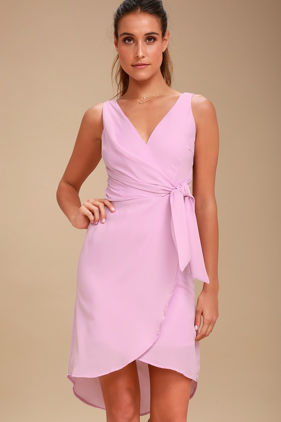 ef1d9cab3e49 Lovely Lavender Dress - Wrap Dress - High-Low Midi Dress
