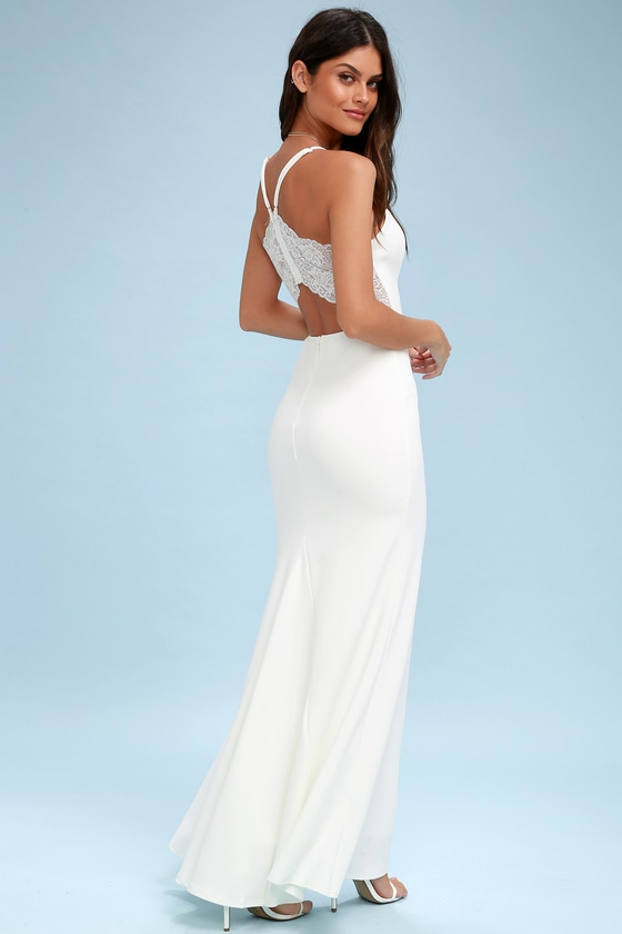 1930s Style Wedding Dresses | Art Deco Wedding Dress Love Story White Backless Lace Maxi Dress - Lulus $96.00 AT vintagedancer.com