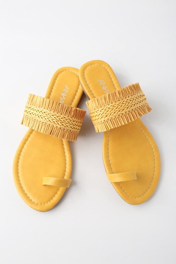 fbd65b66e3d6 Cute Yellow Shoes - Flat Sandals - Yellow Sandals