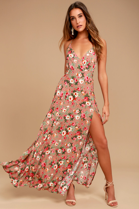 60e167615ccf Stunning Blush Dress - Print Maxi Dress - Floral Sundress