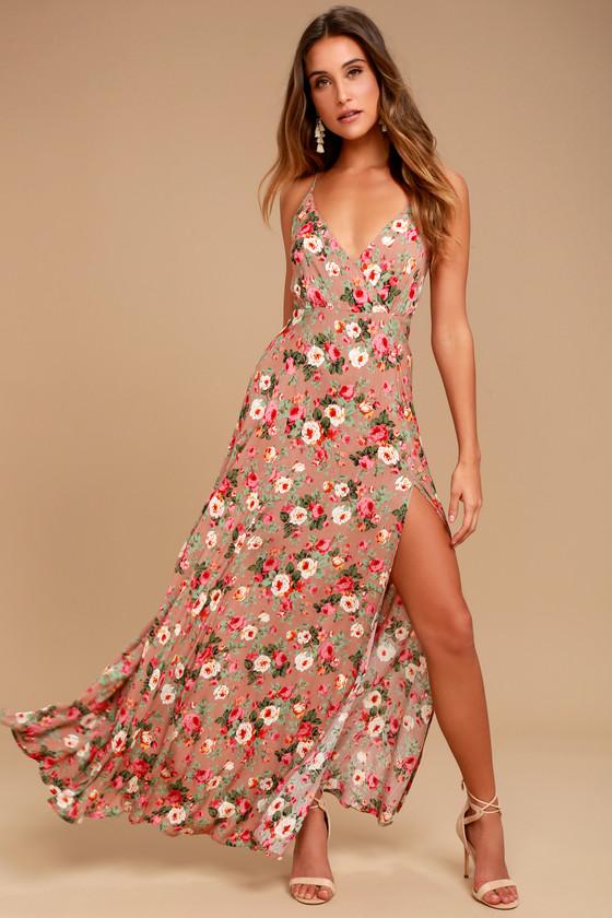 Everlasting Bliss Blush Floral Print Maxi Dress