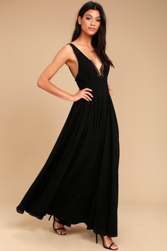8a56f6e32fd Lovely Black Dress - Maxi Dress - Lace Dress - Lace Trim Maxi Dress ...