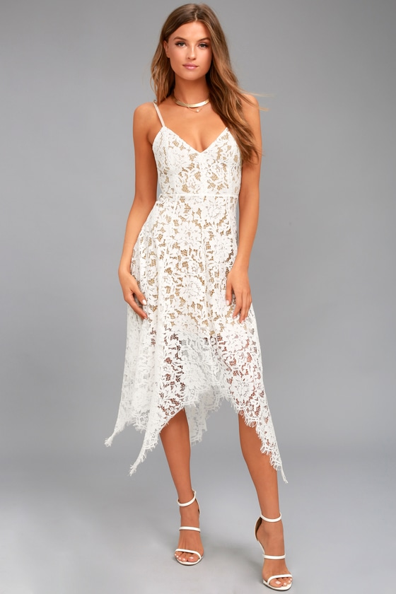 9de01750799 Lovely White Lace Dress -Midi Dress - Handkerchief Hem Dress