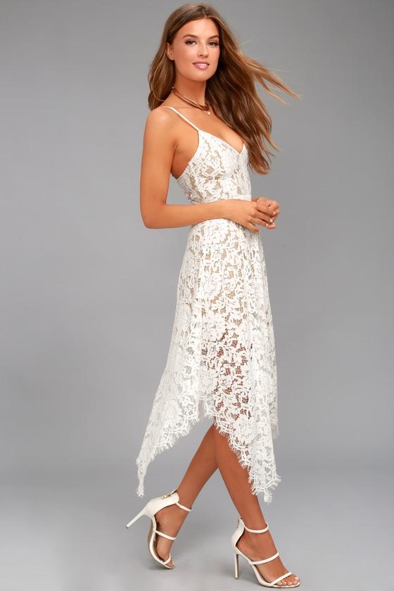 0bfb2f6fcb577 One Wish White Lace Midi Dress