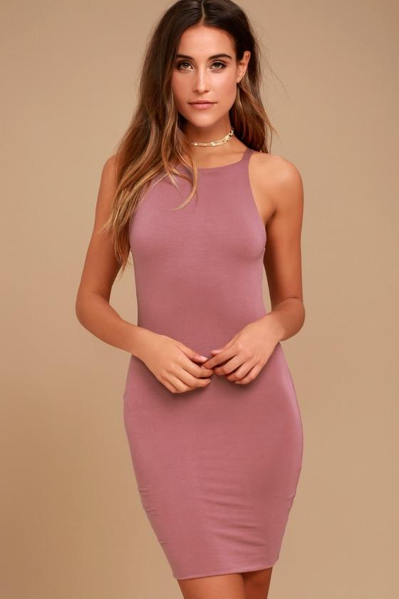 fd93a4f3cef Perfect Mauve Bodycon Dress - Knit Bodycon Dress - Sleeveless Bodycon Dress  -  35.00