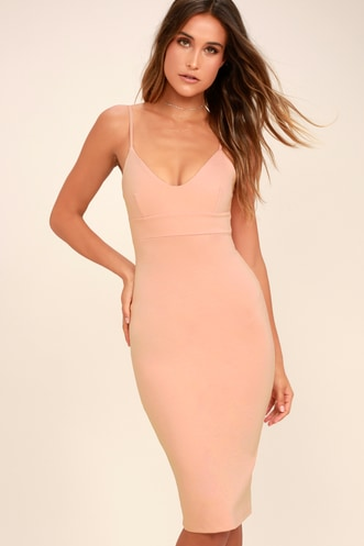 Lulus Don t Tell  Em Blush Pink Bodycon Midi Dress efd03db14