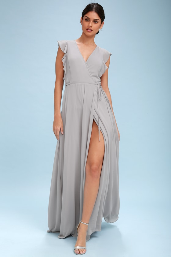 5b5df1dce943 Stunning Maxi Dress - Wrap Maxi Dress - Light Grey Maxi Dres