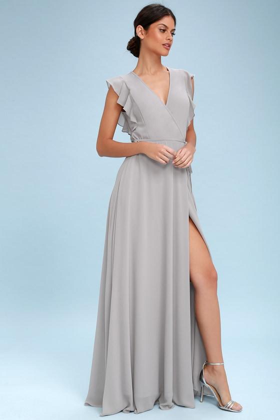 64bc375d7f Stunning Maxi Dress - Wrap Maxi Dress - Light Grey Maxi Dres