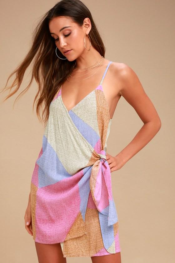 Marlo Beige Multi Print Wrap Dress