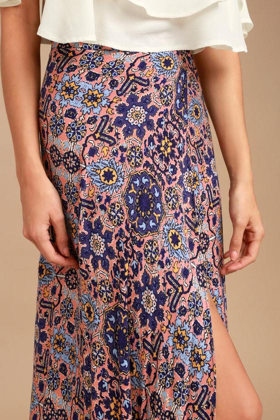 5a70df45c77cb7 Boho Skirt - Mauve Print Skirt - Wrap Skirt -Slit Maxi Skirt