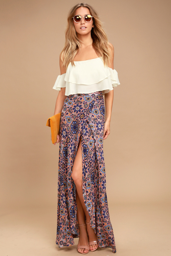 Good Prices online store browse latest collections Dancing with Daisies Mauve Print Maxi Skirt