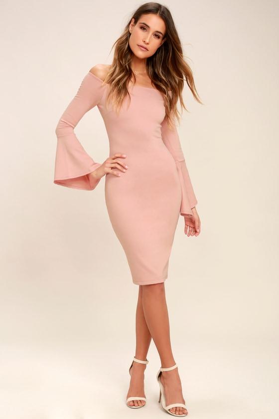 aa6ffb50e51b Chic Blush Pink Dress - Off-the-Shoulder Dress - Midi Dress