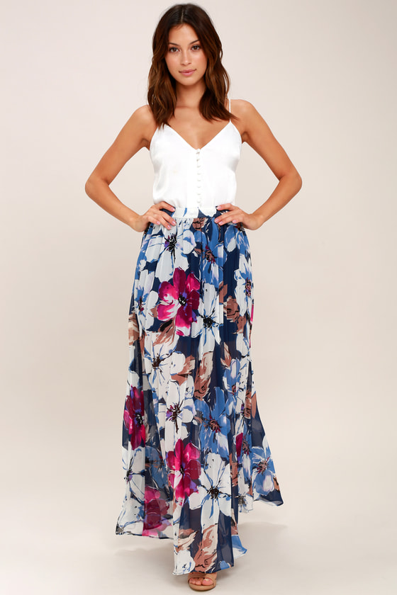 579de7600077 Floral Pleated Skirt - Navy Blue Floral Print Maxi Skirt